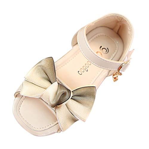 Bowknot Sandalen für Kinder/Dorical Sommer Baby Mädchen Rutschfeste Weichem Kunstleder Sandalen Outdoor Kinder Freizeit Peep Toe Schuhe Klettverschluss Prinzessin Schuhe 21-30 EU(Beige,28 EU)