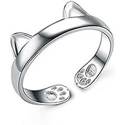 Joybuy 1Pc Creativo Plata Gato anillo lindo Chinchilla Open Boca Anillo de la joyería