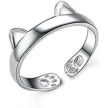 Leisial L'anello di Cristallo dell'anello di Modo dell'anello apre Gli Orecchini del Gatto dell'anello il Formato di Disegno gli Accessori Registrabili dei Monili delle Ragazze delle Donne Argento