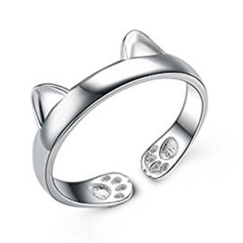- 41QJ6iEbE7L - Cdet Open Ring Women Cute Cat Footprint Size Adjustable Wedding Ring Lady Jewelry Accessories Love Gift