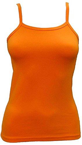 2 Pcs Elegance Mädchen und Damen Baumwollelycra Spaghetti Qualität Leibchen Weste Tops(Girl's Vest tops)Ref:3257 Orange(Orange)