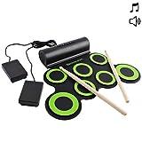 deAO Kit de Batería Electrónica con Modelo Plegable Portátil Conjunto Tapete Musical de...
