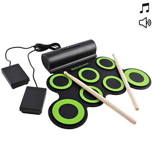 ronisches Schlagzeug-Set für musikalische Unterhaltung mit eingebauten Lautsprechern, Fußpedalen und Drumsticks - ideal für Kinder ()