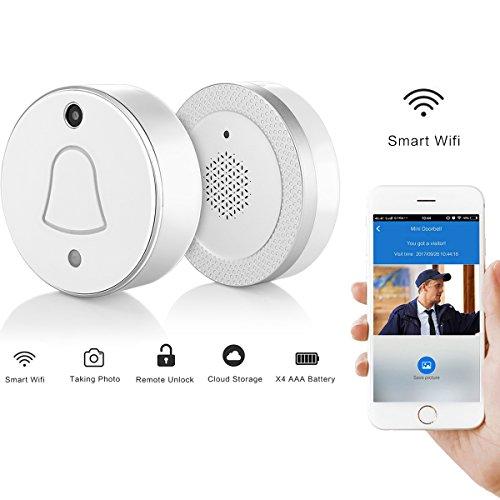 Smart Kabellos Türklingel W-lan Video Kamera App drücken Benachrichtigung Türklingel & Empfänger Kit 90 ° Überwachung Automatische Aufnahme von Bildern beim Drücken auf IOS Android Smartphone (Silber)