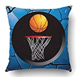 byypplz98 Throw Pillow Covers Orange Net Basketball Hoop Blue Cracked Button Athletics Ball Basket Competition Conceptual Game Polyester 18 X 18 inch Square Hidden Zipper Decorative Pillowcase