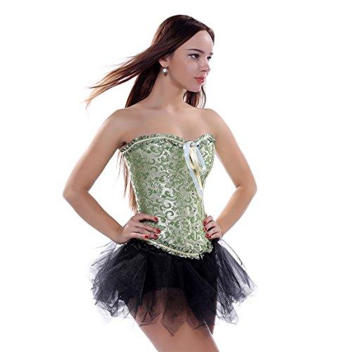 Frauen Jacquard Korsett Corsage Vollbrust Bustier mit Tutu Halloween Kostüm Grün