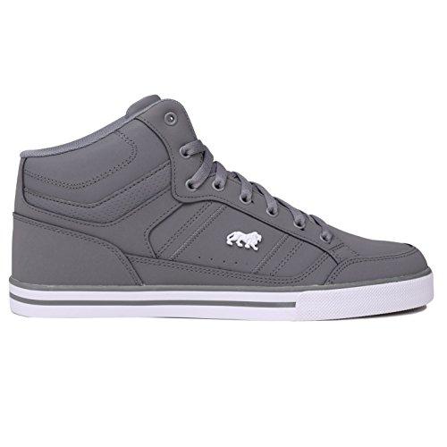 Lonsdale Canons Herren Turnschuhe Hi Top Sneaker Logo Freizeit Sport Schuhe Grau/Weiß 11 (45) (Sneakers Herren Weiß Hi Grau)