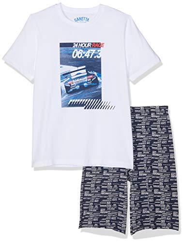 Sanetta Jungen Zweiteiliger Schlafanzug Pyjama Short Weiß (White 10) 176