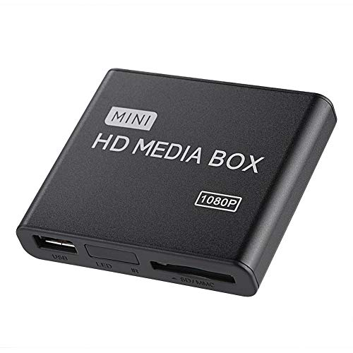 Eboxer 110-240 V Full HD Mini Box Media Player 1080 P Media Player Box Unterstützung USB MMC RMVB MP3 AVI MKV für Haus(Schwarz)