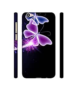 Casotec Neon Butterfly Light Abstract Shine Design 3D Printed Hard Back Case Cover for Vivo V5 Plus