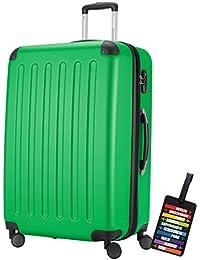 Hauptstadtkoffer® Valigia (128 litri) con un lucchetto TSA Seria SPREE (Colore Verde con 1 ciondolo per la valigia)