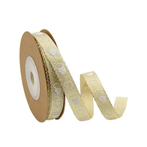 Baoblaze 10m Herz Organzaband Perlenband Satinband Hochzeit Satin Trim Ribbon DIY Basteln - Golden, 10 mm - Satin Ribbon Trim