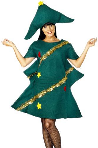 Womens Weihnachtsbaum Kostüm - Smiffys, Damen Weihnachtsbaum Kostüm, Tunika, Hut