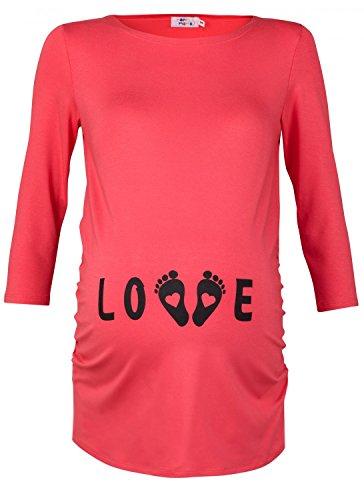 Happy Mama. Femme Tee shirt grossesse humour à imprimé LOVE petits petons. 548p Corail