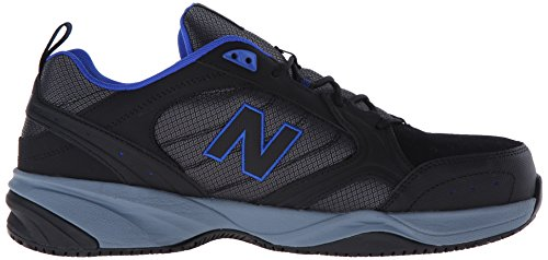 New Balance Men's Steel Toe 627 Suede Cross-Trainer Shoe Black/Pacific