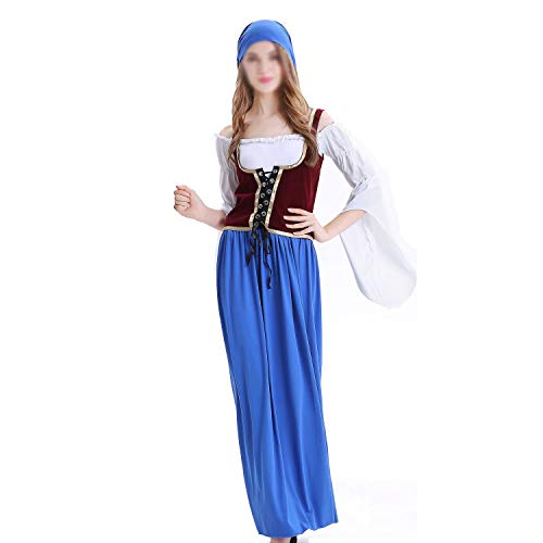 YCLOTH Erwachsene Halloween-Kostüm, Kopftücher + Kleid + Westen, Deutsch Oktoberfest Kostüm Bühnenkleidung-Blue-L