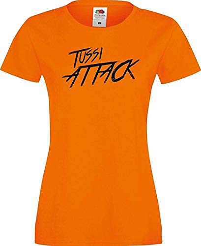 Shirtinstyle Lady T-Shirt Tussi Attack,orange, M