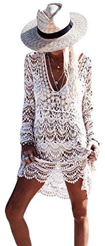New Damen Off Weiß V-Ausschnitt Lange Ärmel Crochet Beach Kleid Kaftan Beachwear Cover Up Sommer tragen Kaftan Größe M UK 10–12EU 38–40 (Kaftan Ärmel)