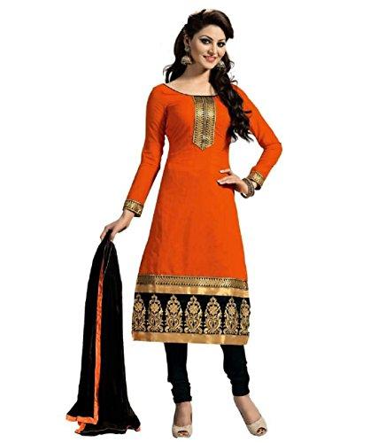 Generic Cative Company Pure Cotton Un-Stitched Emroderied Salwar Suit Dupatta Material (Orange)