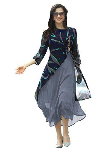 Peachmode Women's Blue - Grey Layered Georgette Kurti-S