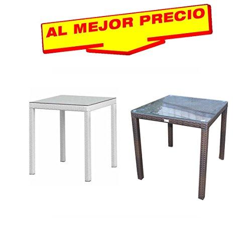 MESA JARDIN DE ALUMINIO REVESTIDA DE RATAN 80X80 CM, MODELO NATURE , DISPONIBLE EN VARIOS COLORES (Chocolate)