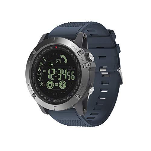 JS Reloj Deportivo Inteligente, BT4.0 5ATM a Prueba de Agua Banda de muñeca Inteligente Podómetro Alarma Cronómetro Recordatorios de cámara remotos Compatible con iOS y Android,Blue