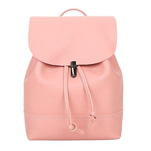 Resplend Damen Vintage Einfarbig PU Leder Umhängetasche Modisch Crossbody Tasche Rucksack Freizeit Partypaket Handtasche Schultertasche (Rose)