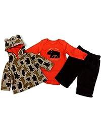 Baby Winter Fleece Overall Teddyanzug Wagenanzug Strampler Bären mit Kaputze