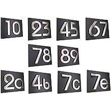 Hausnummer Hausschild Edelstahl H20cm 200mm in 2D Design Arial mit Zusatzbefestigung und 1 x Acryplatte 35cm x 28cm in diamant-anthrazit 0 1 2 3 4 5 6 7 8 9