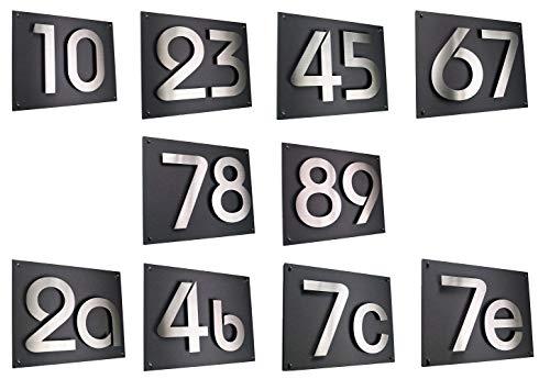 Hausnummer/Hausschild Edelstahl H20cm/200mm in 2D Design ITC-Bauhaus (0 1 2 3 4 5 6 7 8 9) und 1 x...