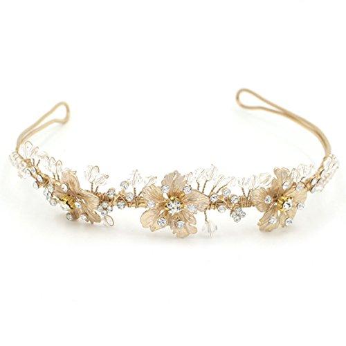 Butterme Braut Vintage Blumen-Kristall Strass-Stirnband Stirnband Hochzeit Haarschmuck