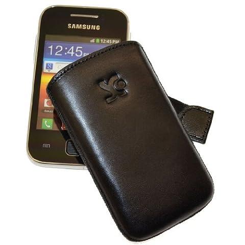 Tasche fuer - Samsung Galaxy Y - GT S5360 / Etui Handytasche Ledertasche 1A Qualitaet Schutzhuelle Case Huelle *Lasche mit Rueckzugfunktion* Schwarz