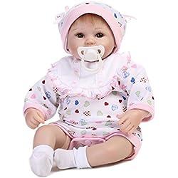 Decdeal Poupée Reborn Bébé Corps De Bain Silicone Corps Yeux Ouvert avec des Vêtements 16 Pouces 40 cm Réaliste Mignon Cadeaux Jouet Fille