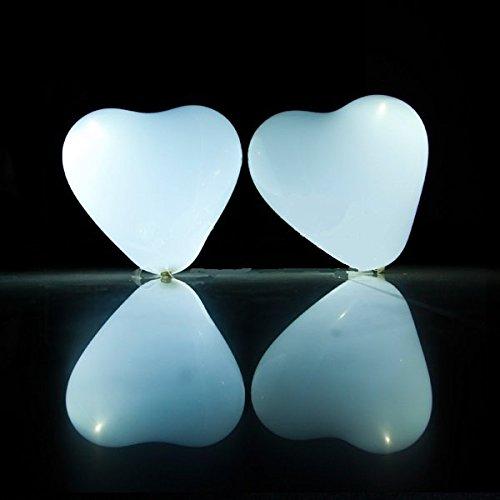 Globos Led Corazón, blancos, luz, fija, 20 unidades ENTREGA 1-3 DÍAS