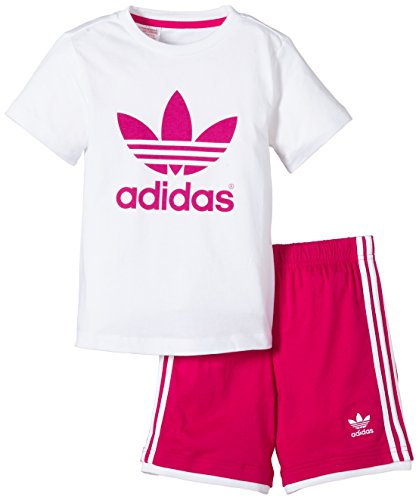 adidas Kinder Anzug Infinitex Tee Short, White/Bold Pink, 98, S14337