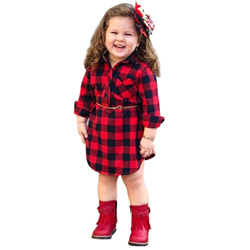 QinMM 0-4 años bebé Niñas Vestidos Cuadros Princesa