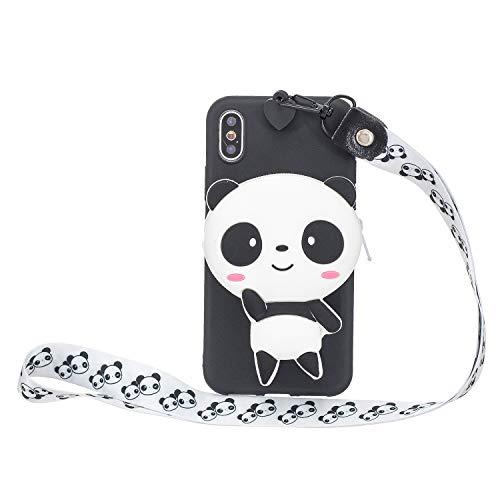 Miagon Silikon Hülle für iPhone XS Max,3D Süß Brieftasche Lager Tasche Design mit Halskette Kordel Schnur Handykette Necklace Band,Panda