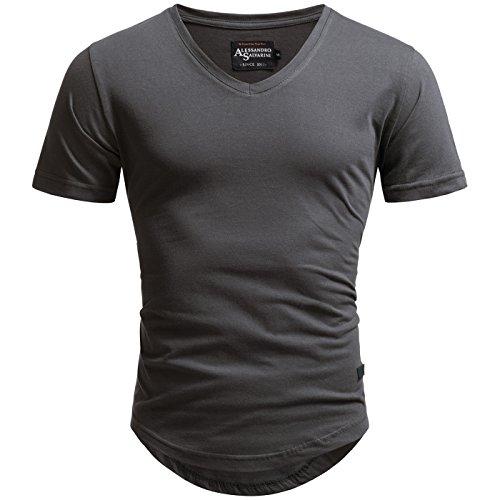 A. Salvarini Herren Designer T-Shirt Kurzarm Oversize Sommer Shirts Basic V- Ausschnitt 2af2402d3a