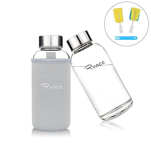RYACO Glasflasche Trinkflasche Classic Tragbare 360ml BPA-frei für unterwegs Sportflasche Glas Wasserflasche zum Mitnehmen von kalten Getränken mit Neopren Tasche und Schwammbürste (Hellgrau, 360ml)