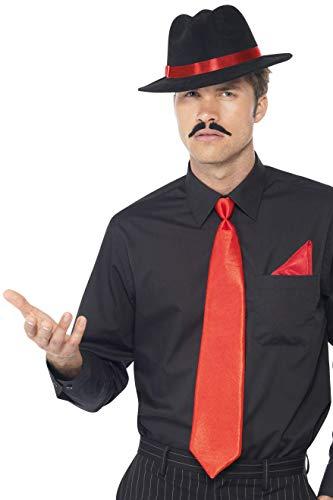 ter Set, Filzhut, Krawatte und Einstecktuch, One Size, Rot, 33109 ()
