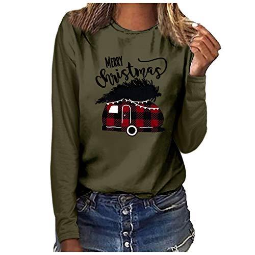 Weihnachten Frauen Weihnachten Plus Size Print Rundhals Langarm T-Shirt Bluse Tops