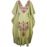 Mogul Interior Women Kaftan Dress Green Embroidered Cotton Lounge Caftan One Size