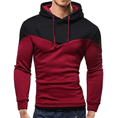 Aiserkly Herren Herbst Winter Patchwork Langarm Kapuzen Sweatshirt Top Bluse Kapuzen-Sweatshirt Hoodie T-Shirt Sportsweatshirt Outwear Freizeitjacke Weinrot M