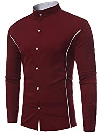 c58593225861 Hommes Chemise Mode T-Shirt à Manches Longues à Encolure Affaires, QinMM  Costume Tunique
