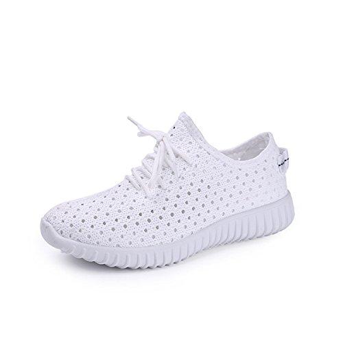 CHT Mädchen Frühling Und Herbst Runde Beiläufige Schuhe Netz Niedrig Zu Helfen White