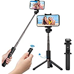 Mpow Perche Selfie Trépied Bluetooth avec Télécommande 360° Selfie Stick 3 en 1 Monopode Extensible pour iPhone 11/11 PRO/11 Pro Max/XS/XS Max/XR/X/ 8/7/ 7/6, Samsung, Huawei Android Smartphone