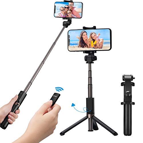Mpow Bastone selfie 3 in 1 Bluetooth treppiede estensibile, 360 ° rotazione selfie stick cavalletto con Bluetooth controllo remoto perper iPhone, Samsung, Huawei Android 3.5- 6 Pollici Smartphone
