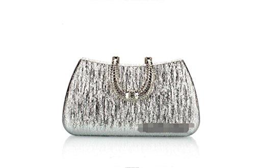 borsa da sera di modo, borse tempestato di diamanti, pacchetto d'onde, frizione Silver