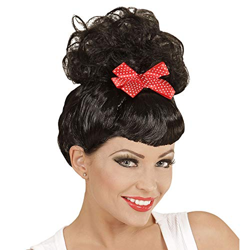 Girl Kostüm Pin Up - Widmann - Perücke Rockabilly Pin Up Girl mit roter Schleife