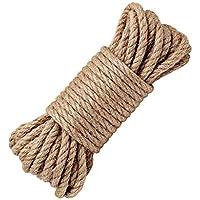 LUOOV - Cuerda 100% natural de cáñamo, 8 mm de grosor, soga fuerte de yute, cuerda para camping, jardines, barcos, juegos de guerra, mascotas, cuerda de escalada, cuerda de utilidad multiuso, 10 - 40 m , 20m(64ft)